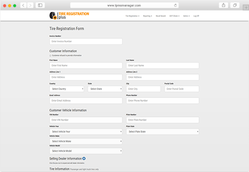 Tire Registration Plus Form Screenshot