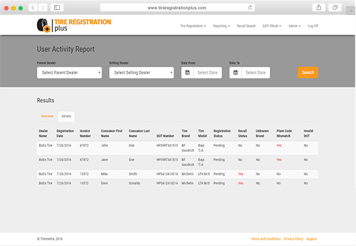 Tire Registration Plus Advanced Reporting Screenshot